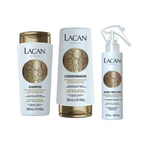 Lacan Mar Sol e Piscina - Kit Shampoo Condicionador e Spray Protetor