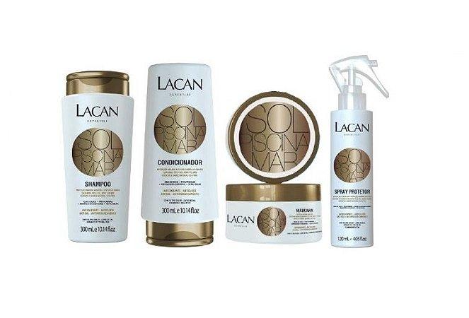 Lacan Mar Sol e Pisicina - Kit Shampoo Condicionador Máscara e Spray Protetor