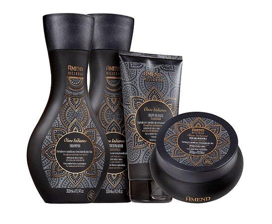 Amend Millenar Óleos Indianos - Kit Shampoo Condicionador Máscara e Leave-in