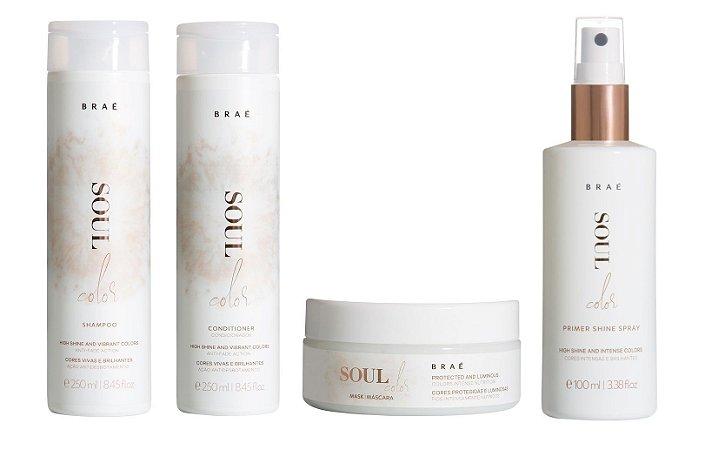 Braé Soul Color - Kit Shampoo Condicionador Máscara e Leave-in Cabelos Grossos