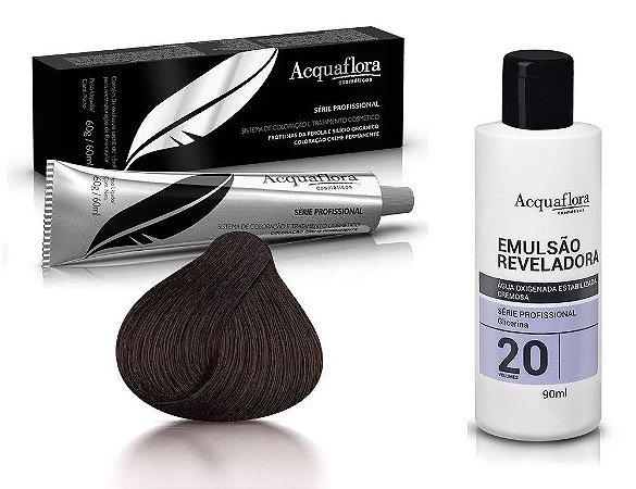 Acquaflora Kit Coloração 3.0 Castanho Escuro + Emulsão 20vol