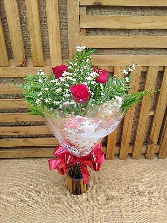 Buquê 3 Rosas (Vermelhas)  Tradicional