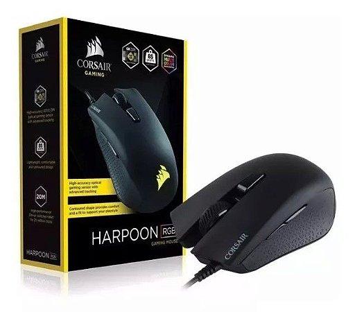 Mouse Gamer Corsair 6000dpi Rgb 6 Botões Preto Harpoon