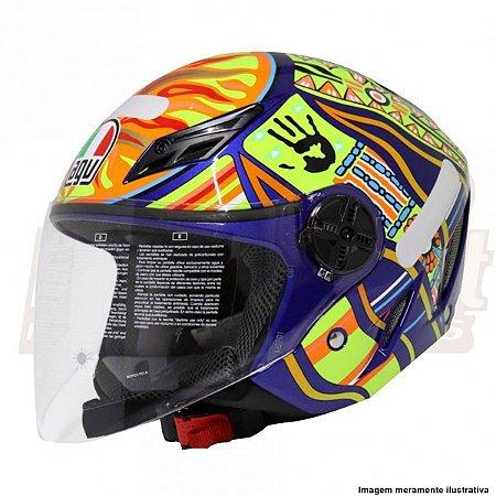 Capacete Agv Blade Five Continentes Azul Valentino Rossi Giro Moto Parts