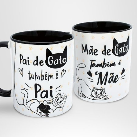 Kit Canecas Mãe de Gato Também é Mãe & Pai de Gato Também é Pai