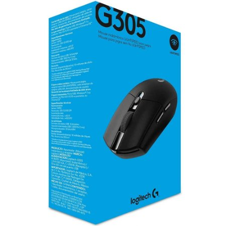 Mouse Sem Fio Gamer Logitech G305 Hero Lightspeed, 6 Botões, 12000 DPI
