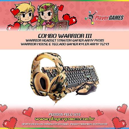 COMBO WARRIOR 03 - WARRIOR HEADSET STRATON GAMER ARMY PH305, WARRIOR MOUSE E TECLADO GAMER KYLER ARMY TC249