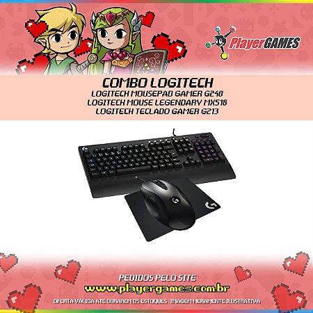 COMBO LOGITECH - LOGITECH MOUSEPAD GAMER G240, LOGITECH MOUSE LEGENDARY MX518 E LOGITECH TECLADO GAMER G213