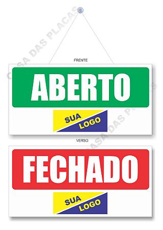 Placa Aberto E Fechado Personalizada Com Cordão E Ventosa Pvc