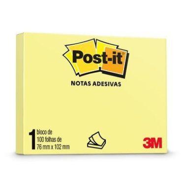 Blocos Adesivos 3M Post-it 76X102 Amarelo 100F