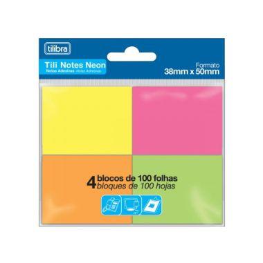 Blocos Adesivos Tilibra Tili Notes Neon 38X50 C/4 Cores 100F