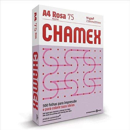 Papel Chamex 500F A4 75Gr Cor Rosa