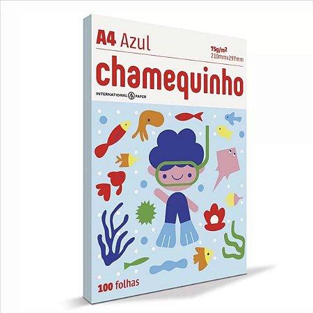 Papel Chamequinho 100F A4 75Gr Cor Azul