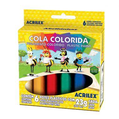 Cola Colorida Acrilex C/6 Cores 23G