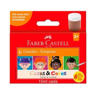 Tinta Guache Faber-Castell 15ML Caras & Cores C/6 Cores