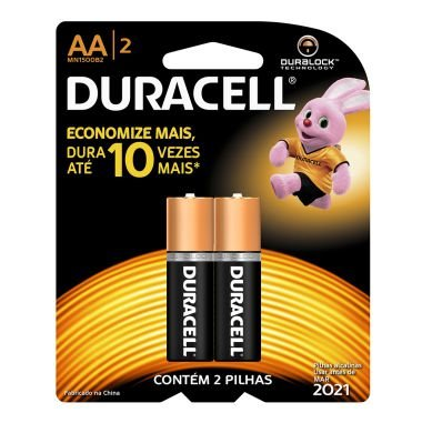 Pilha AA Duracell C/2 Alcalina