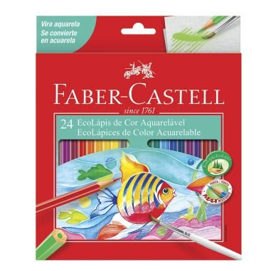 Lápis De Cor Faber Castell 24 Cores Aquarelável