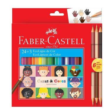Lápis De Cor Faber Castell Caras E Cores C/24 Cores + 3 Bicolor C/6 Tons de Pele