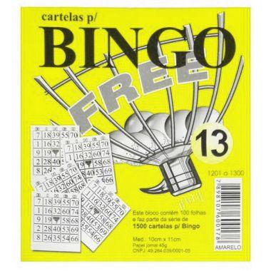 Bloco de Bingo Free Amarelo