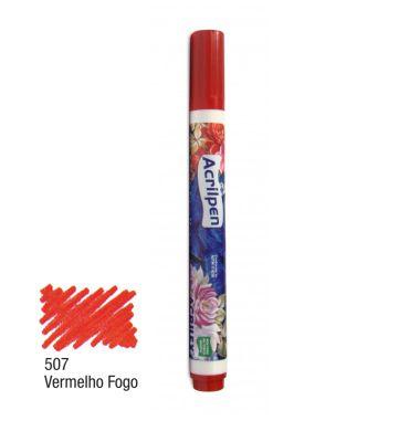 Acrilpen Tecido Acrilex Vermelho 507