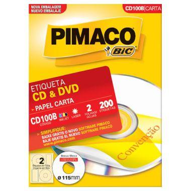 Etiqueta Pimaco CD/DVD CD100B (2 Etiquetas P/Folha) C/100 UND