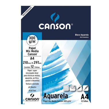 Bloco Aquarela A4 Canson 300g/m² 12F