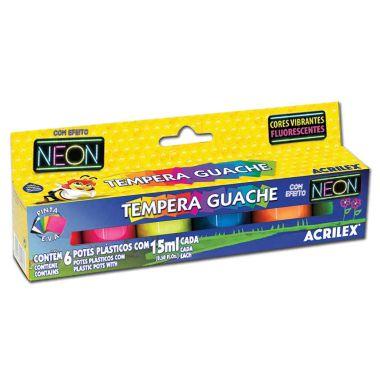 Tinta Guache Acrilex Neon 6 Cores 15ML