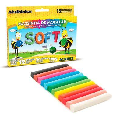 Massa De Modelar Acrilex Soft C/12 Cores