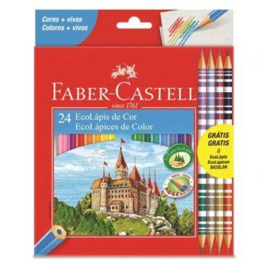 Lápis De Cor Faber Castell 24 Cores + 8 Cores Bicolor