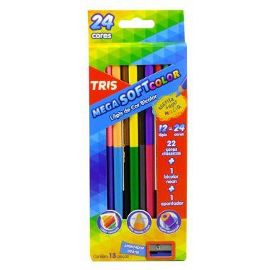 Lápis De Cor Tris Mega Soft Color 12 Lápis 24 Cores Bicolor