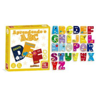 Aprendendo ABC Brinc. de Criança 51 Peças Madeira