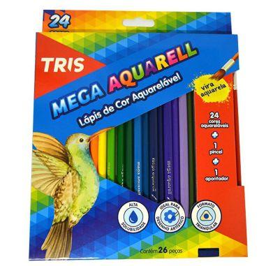 Lápis De Cor Tris Mega Aquarell 24 Cores Kit Aquarelável