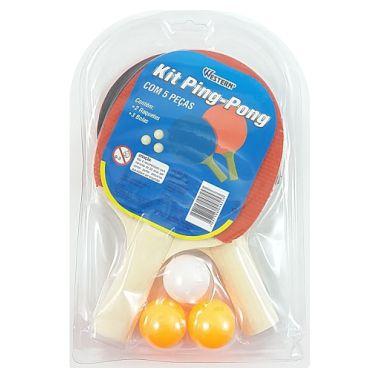 Raquete Ping-Pong + Bolas Western 5 Peças KP-55