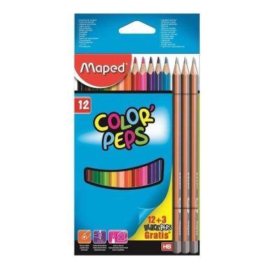 Lápis De Cor Maped Color Peps 12 Cores + 3 Lápis Preto Triangular