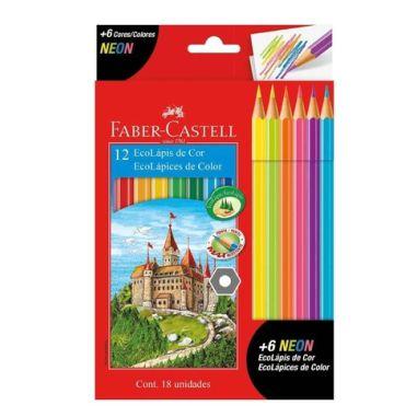 Lápis De Cor Faber Castell C/12 Cores + 6 Cores Neon