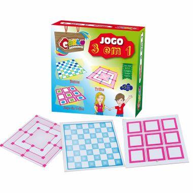 Jogo 3 Em 1 Carlu Brinquedos MDF Dama/Ludo/Jogo-da-Velha
