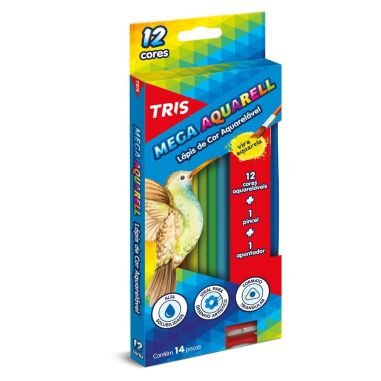 Lápis De Cor Tris Mega Aquarell C/12 Cores Kit Aquarelável