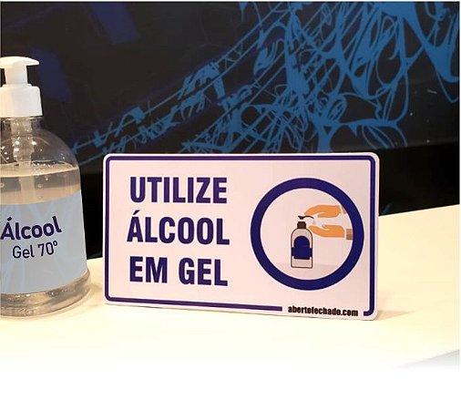 Display Utilize Álcool em Gel - Para Balcão/Mesa - 20x11cm