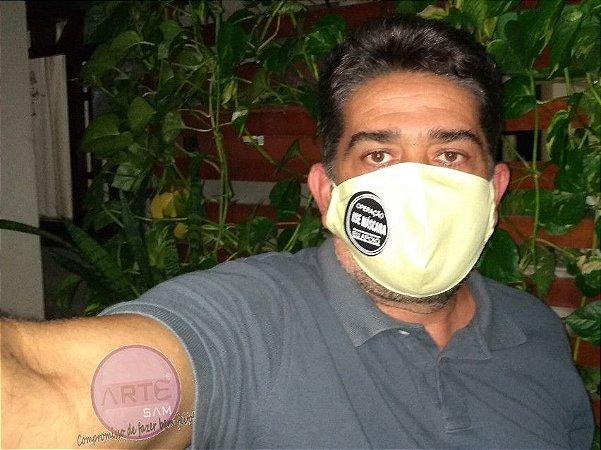 Máscara em Percal 230 Fios Liso - Amarelo Claro - 100% Algodão
