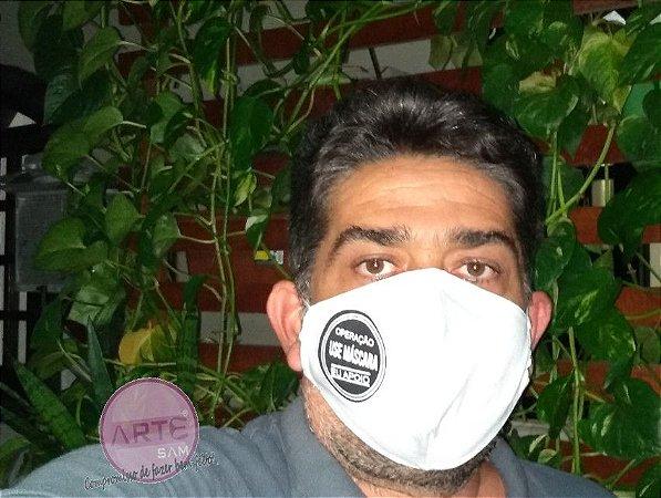 Máscara de proteção em tricoline lisa branco