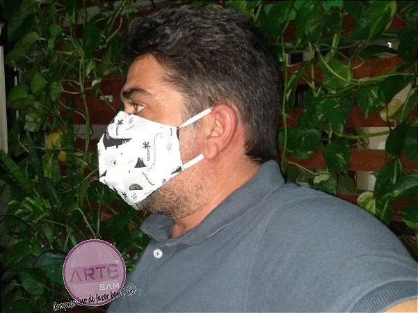 Máscara de proteção individual feita em tricoline Coleção Teepee Kids Dinossauros