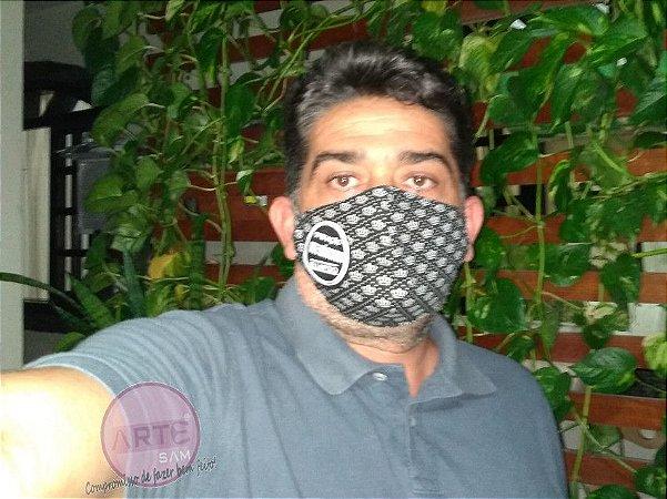 Máscara de proteção em tricoline coroas preto