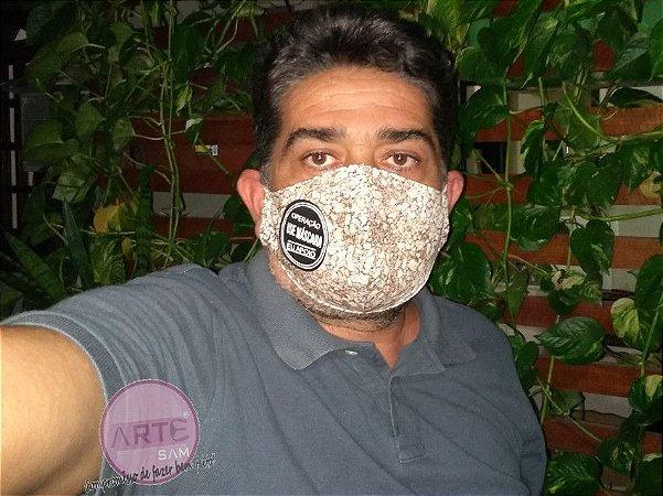 Máscara tripla proteção em tricoline textura pedras