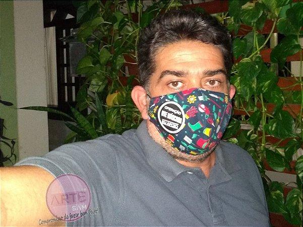 Mascara de proteção tripla tecido tricoline Jardinagem  verde