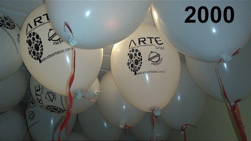 2000 Balões em latex 9 polegadas personalizados com o layout que desejar. Ideal para incentivar visitações semanais em sua loja