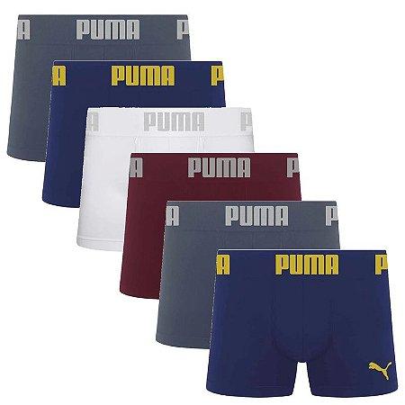 Kit 6 Cuecas Boxer Sem Costura Puma - Sortidas