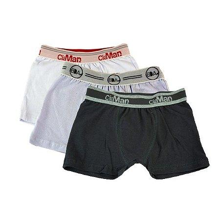 Kit 3 Cuecas Boxer Infantil Cotton