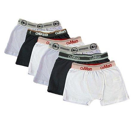 Kit 6 Cuecas Boxer Infantil Cotton Ciaman