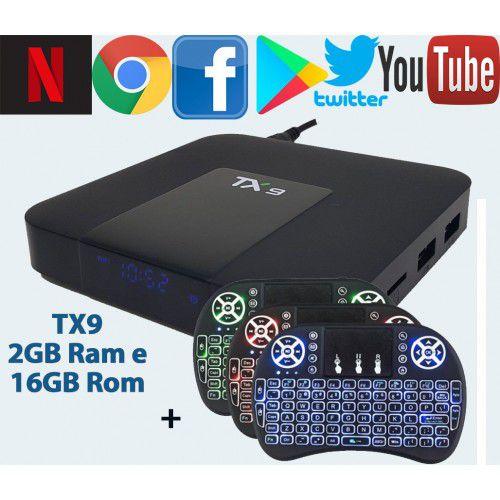 Tv Box Tx9 com Bluetooth Android 7.1.2 Quadcore 2gb/16gb+ teclado Led