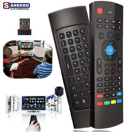 Controle Remoto Air Mouse + Teclado Wireless Smart Tv Box Pc